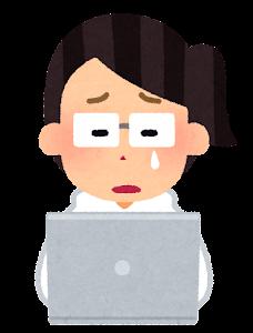 ホワイトハッカーのイラスト(女性・泣いた顔)