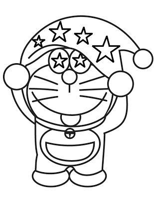 Tranh cho bé tô màu Doraemon đội mũ xinh