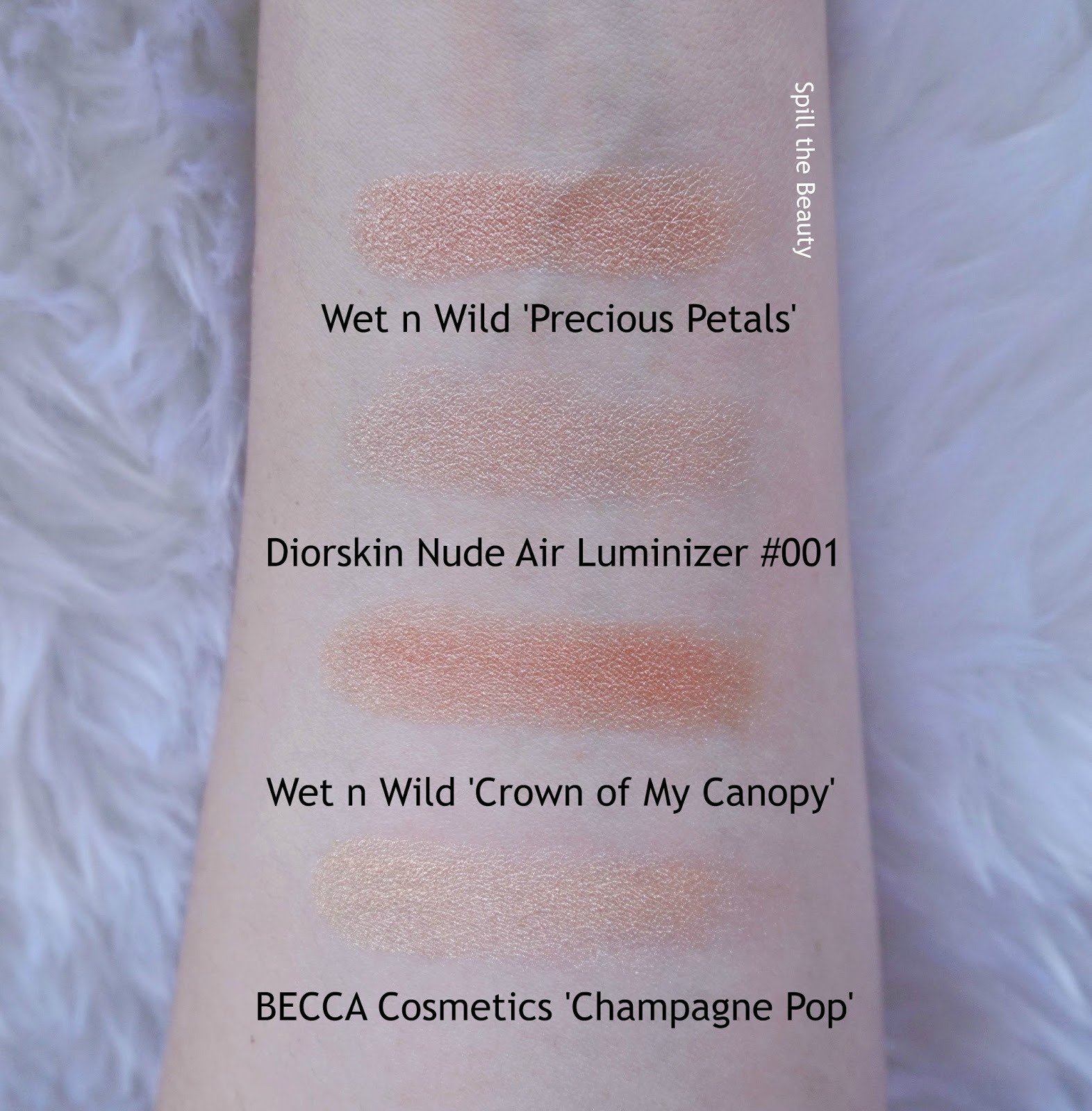 wet n wild megaglo highlighting powder precious petals crown of my canopy review swatches dupe