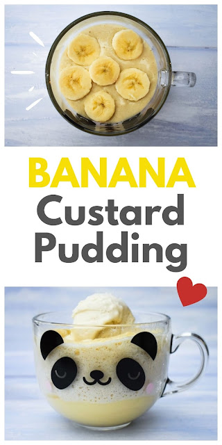 Quick banana custard pudding mug cake topped with vanilla ice cream