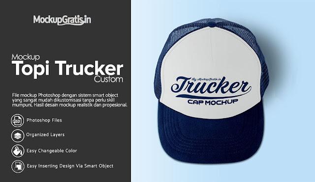 PSD Mockup Topi Trucker Custom #01 Gratis