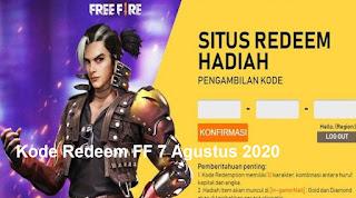 Kode Redeem FF 7 Agustus 2020