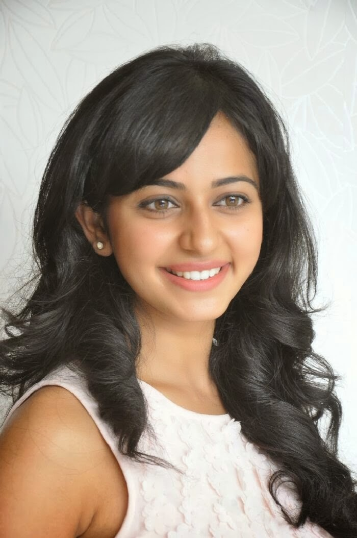 Hot Tollywood Actress Rakul Preet Singh Smiling Close Up Face In White Dress