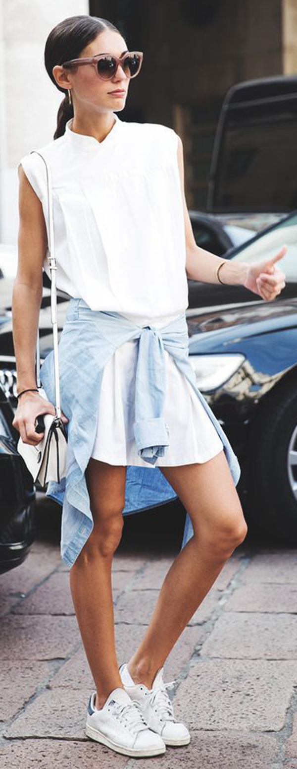 white dress + sneakers