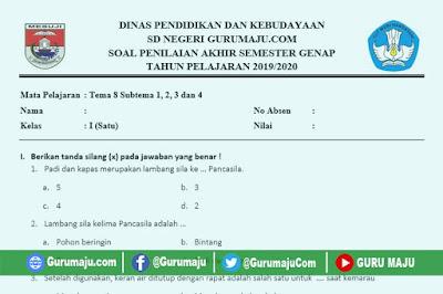 Soal PAT / UKK Kelas 1 Tema 8 Kurikulum 2013 Semester 2