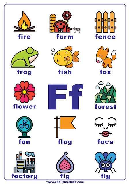Printable alphabet poster - letter F with pictures - classroom wall decoration