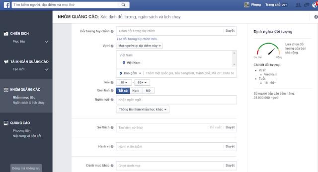 Thiết lập đối tượng quảng cáo Facebook ads