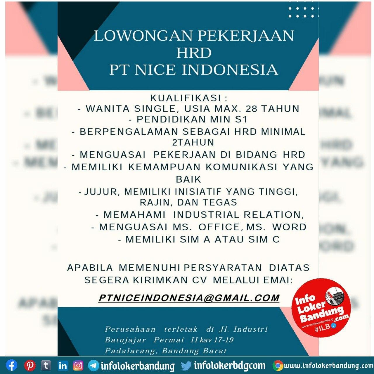 Lowongan Kerja PT. Nice Indonesia Bandung Oktober 2020
