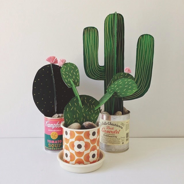 spring crafts for kids paper cactus