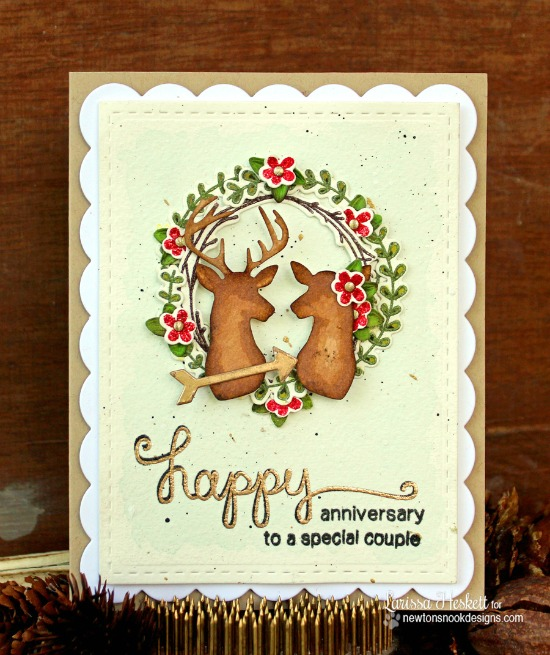 Happy Anniversary Deer Card by Larissa Heskett | Splendid Stags Die Set by Newton's Nook Designs #newtonsnook