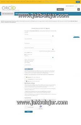 Informasi pendaftaran ORCID ID yang harus kalian lengkapi