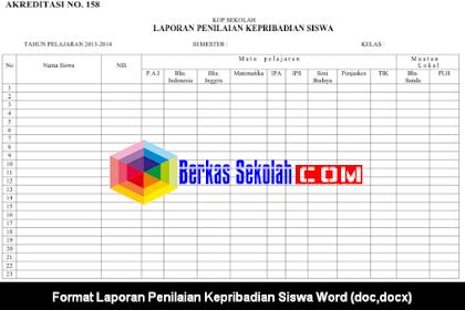 Format Laporan Penilaian Kepribadian Siswa Word (doc,docx)
