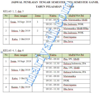 Jadwal Penilaian Tengah Semester (PTS) Semester Ganjil Tahun pelajaran 2019/2020