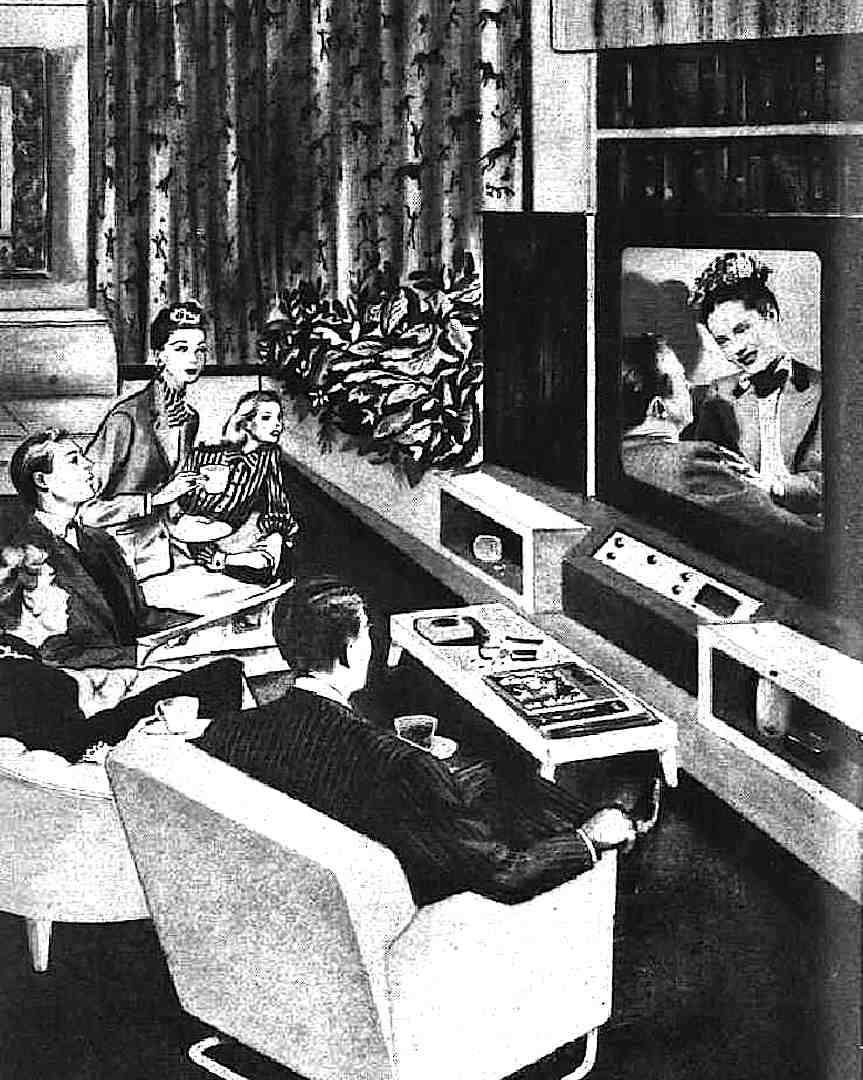 1945 retro future television, an illustration of a future home entertainment studio