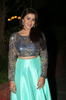 Nikki Galrani in Green Skirt  Top at Marakathamani music launch ~  Exclusive (104).JPG