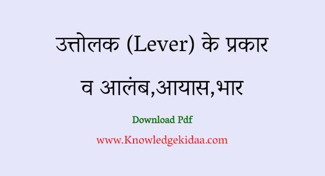 उत्तोलक (Lever) के  प्रकार  व आलंब,आयास,भार