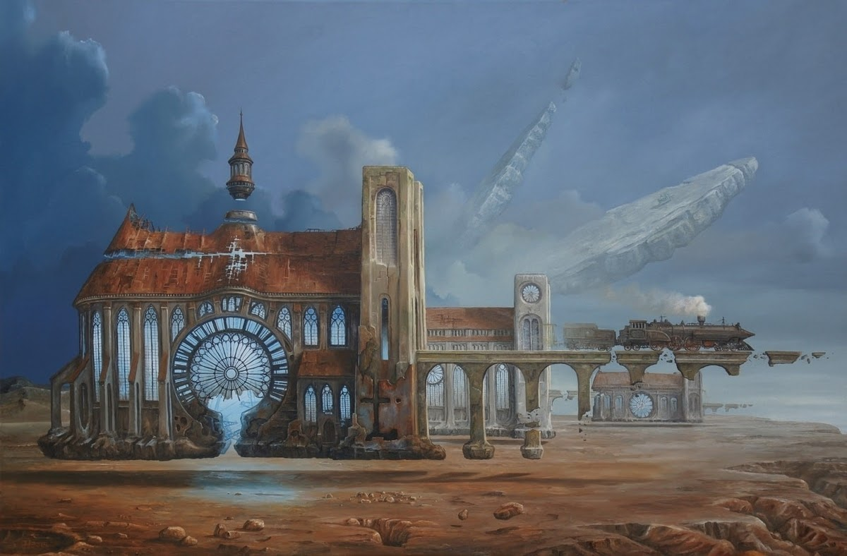 06-Light-Emitters-Jarosław-Jaśnikowski-Paintings-of-Flying-Machines-and-Architectural-Surrealism-www-designstack-co