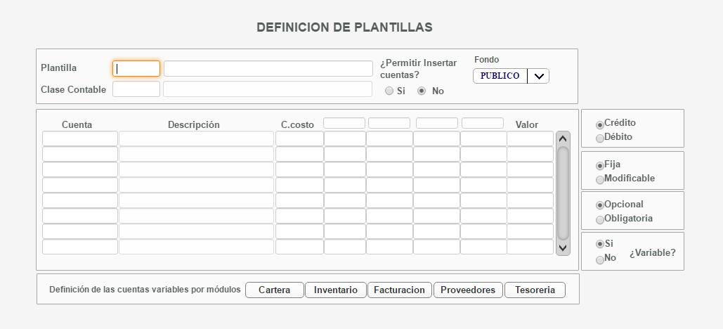 JSP7 ERP: Definición de Plantillas Contables