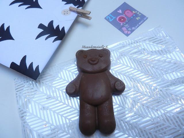 Ouverture de notre calendrier de l'Avent 2015 - Chocolat au praliné fait maison, ourson