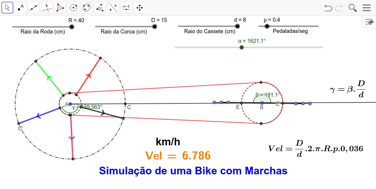 Simulação de uma bicicleta de marchas com o GeoGebra. Ideal para uma aula de Matemática e Física!