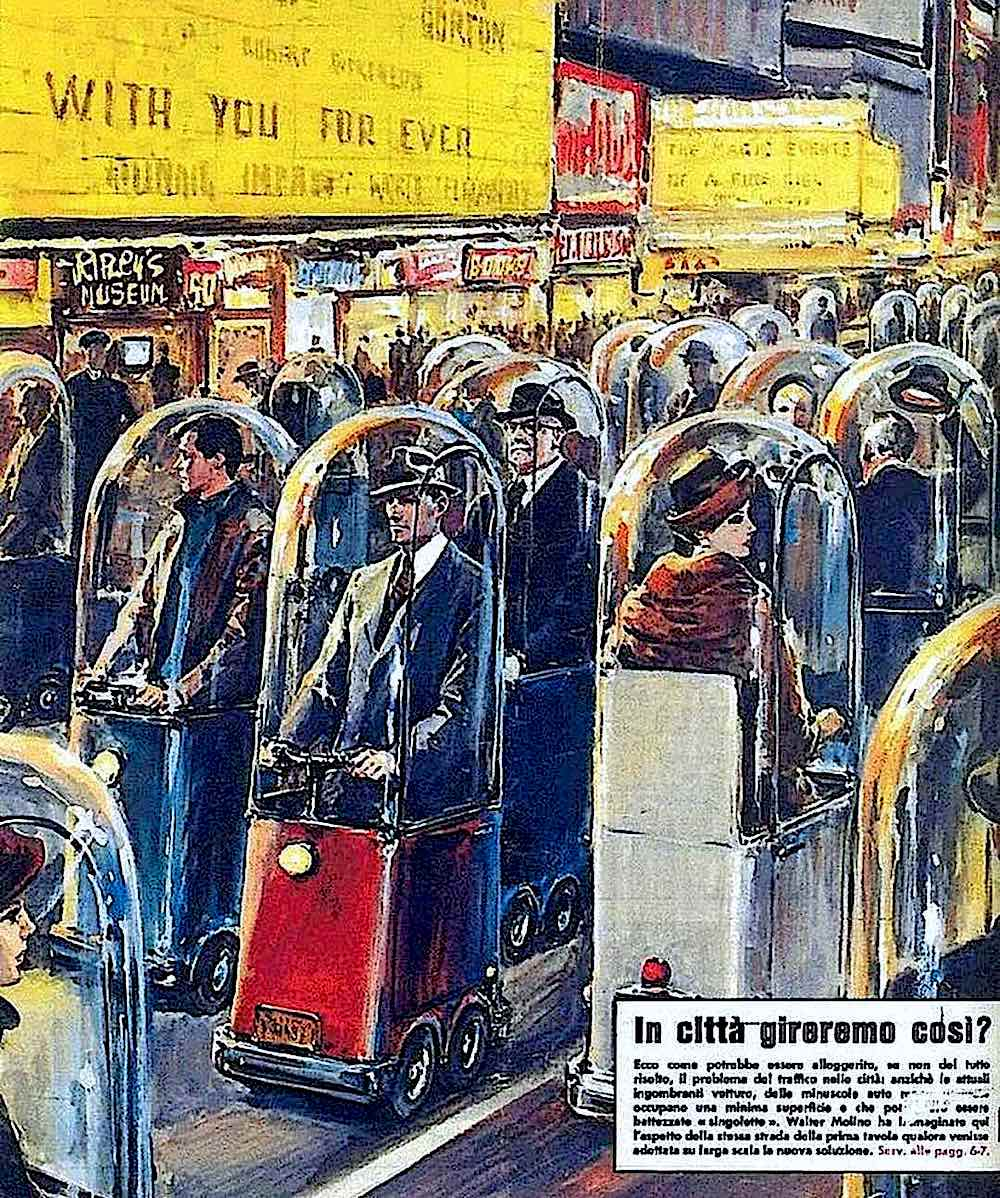 a Walter Molino illustration 1962, pedestrians in traveling cones, retrofuture