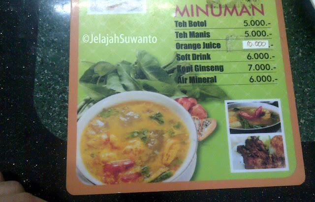 Daftar menu makanan dan minuman di RM Aroma Luwu tidak terlalu bervariasi seperti di Aroma Palopo || ©JelajahSuwanto