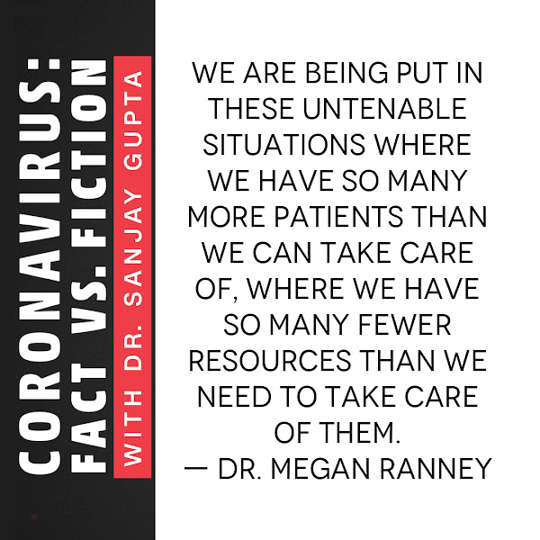 We are being put in these untenable situations where we have so many more patients than we can take care of, where we have so many fewer resources than we need to take care of them. — Dr. Megan Ranney, emergency physician
