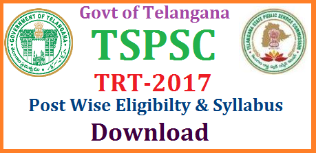 TSPSC TRT TS Teachers Recruitment Notification Post wise Eligibility Syllabus Download Post Wise Eligibility criteria for TRT 2017 in Telangana | Lakhs of Aspirants waiting for the Notification from Telangana Govt official Recruitment Agency Telangana State Public Service Commission | School Assistants SA Telugu Hindi English Maths Science and Social Syllabus Download | Well planned preparation should be there to shoot at the goal Thats why once have a look at Post wise eligibilities for the posts SAs LPs PETs and Secondary Grade Teacher SGT Posts | We update for you when official Notification Anouncement from TSPSC in Telangana tspsc-trt-ts-teachers-recruitment-notification-post-wise-eligibility-syllabus-download