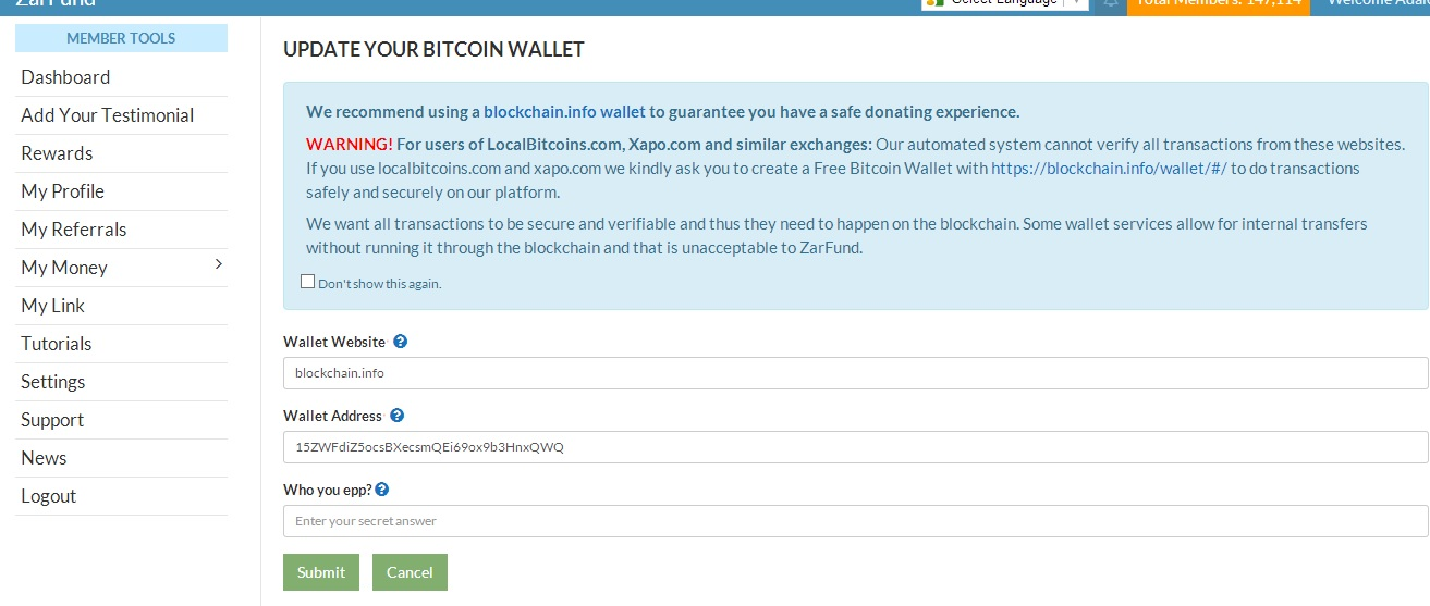 How to add your blockchain bitcoin wallet address to your zarfund how to add your blockchain bitcoin wallet address to your zarfund ccuart Images