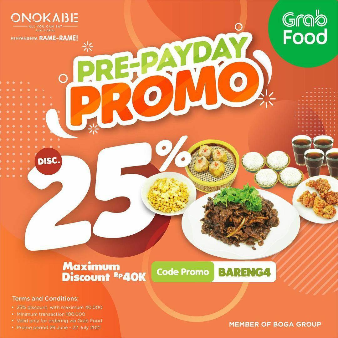 ONOKABE Pre-Payday Promo Diskon hingga 25% via GRABFOOD