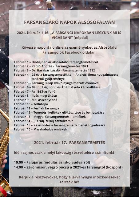 Alsósófalvi Farsangtemetés program - 2021