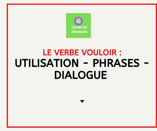 Vocabulaire avec le verbe vouloir : utilisation - phrases - dialogue