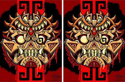 Urban Aztec Daruma Screen Print by Jesse Hernandez x Attack Peter