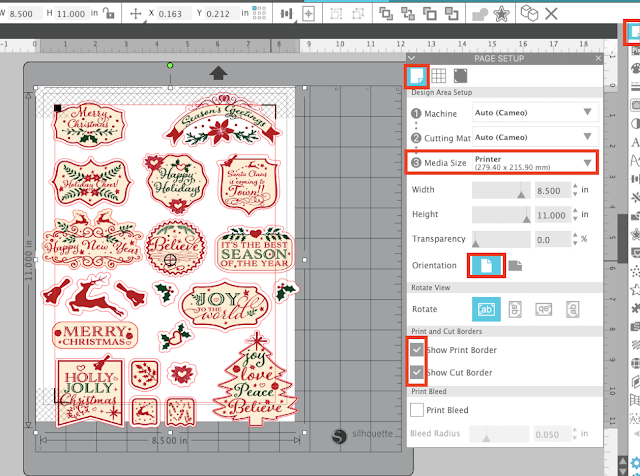 PNG files, tracing, sticker sets, print and cut, silhouette studio