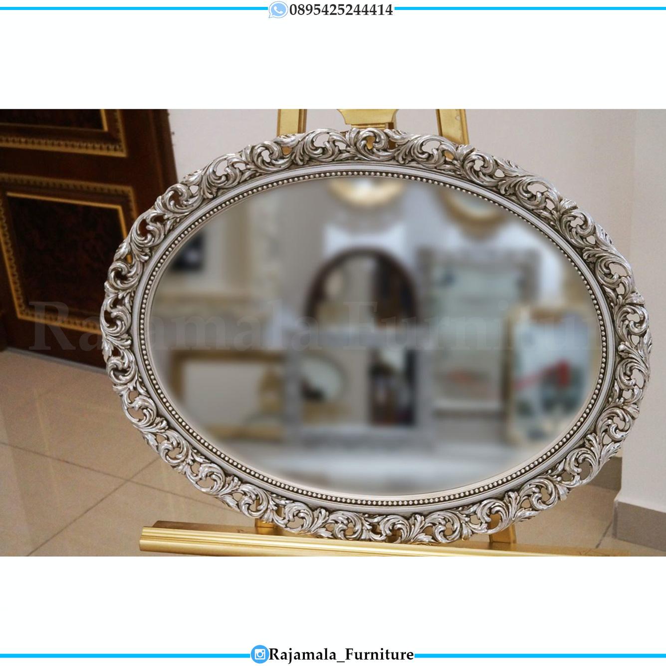 Desain Cermin Kaca Mewah Oval Luxury Carving Khas Jepara Terbaru RM-0502