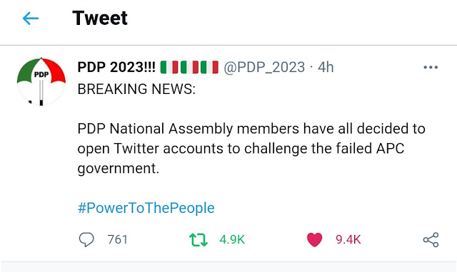 All PDP Members Of National Assembly To Open Twitter Accounts