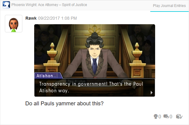Phoenix Wright Ace Attorney Spirit of Justice Paul Atishon transparency in government