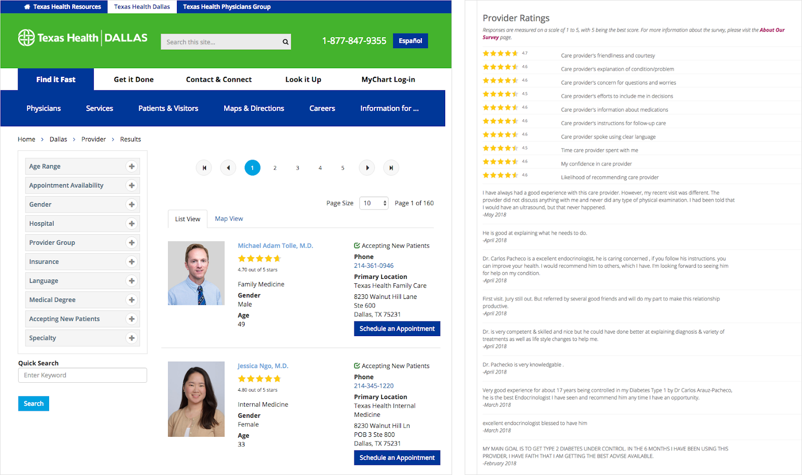 Texas Health Dallas uses star-ratings on their search results pages and doctor bio webpages
