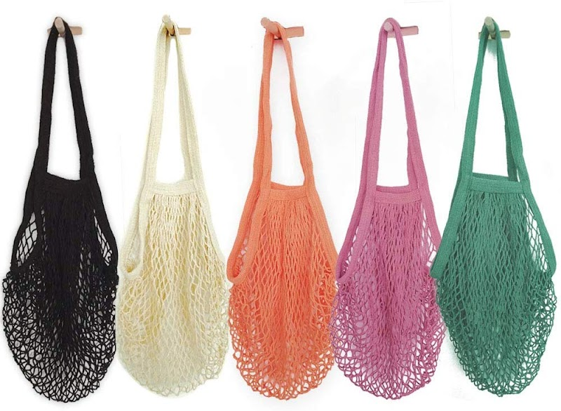 45% off Pack of 5 Portable/Reusable/Washable Cotton Mesh String bags