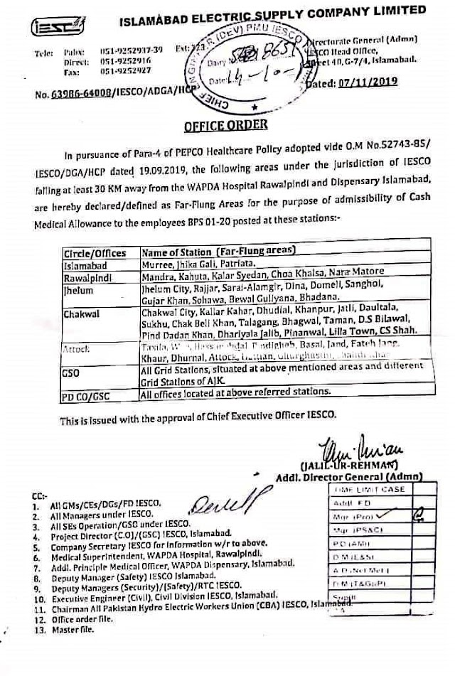 ADMISSIBILITY OF CASH MEDICAL ALLOWANCE TO THE EMPLOYEES OF PEPCO POSTED IN FAR FLUNG AREA