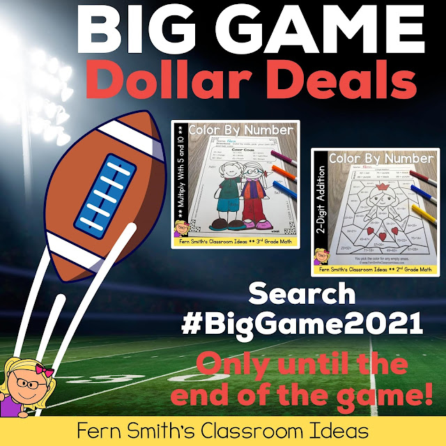 Today Only! Join us on TpT for the Big Game Dollar Deals Sale!  Here's a quick link to my two resources that are on sale for $1.00!