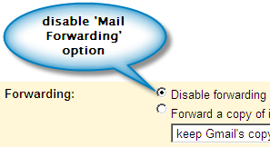 GMail 'Mail Forwarding Settings