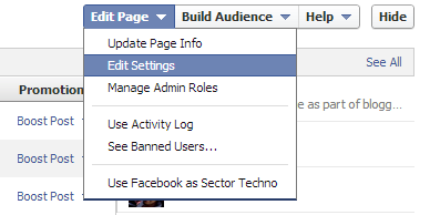 admin panel and edit settings of Facebook fan page