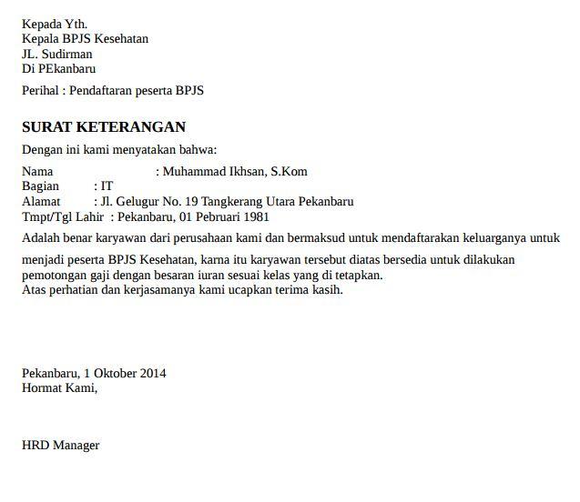 Contoh Surat Keterangan Pemotongan Gaji Bpjs Kesehatan Untuk