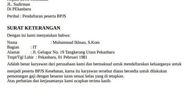 Contoh Surat Keterangan Pemotongan Gaji BPJS Kesehatan ...