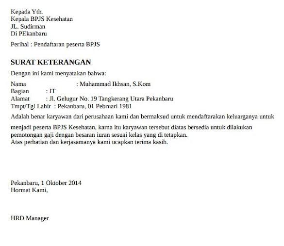Contoh Surat Keterangan Pemotongan Gaji BPJS Kesehatan untuk Karyawan Perusahaan