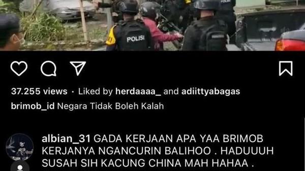 Jarimu Harimaumu, Tulis 'Brimob Kacung China' Pemuda di Bogor Kena ITE