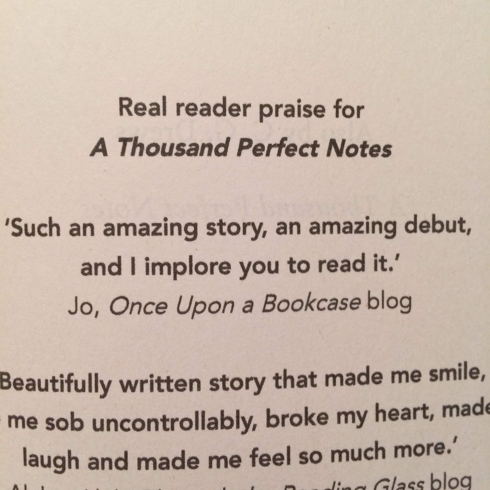 Quote of my review of A Thousand Perfect Notes by C G Drews in the proof of her second book The Boy Who Steals Houses saying such an amazing story, an amazing debut, and I implore you to read it!