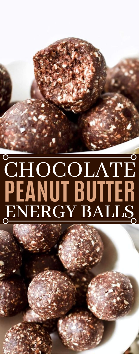 No-Bake Chocolate Peanut Butter Energy Balls #healthy #breakfast