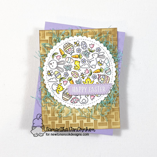 Happy Easter card by Samantha VanArnhem | Spring Roundabout Stamp Set, Circle Frames Die Set, Banner Trio Die Set and Basketweave Stencil by Newton's Nook Designs #newtonsnook #handmade